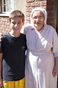 Ethan with Sister Lutgarda